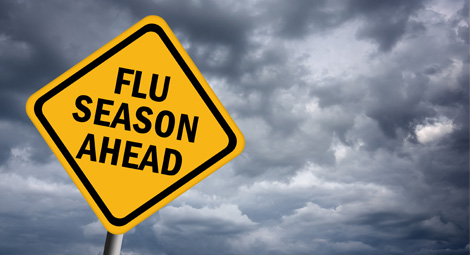 Road Sign warning of Flu Season Ahead